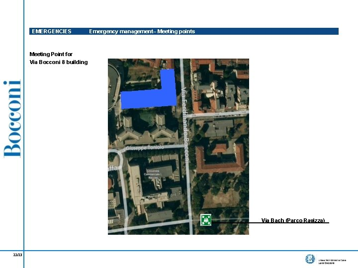 EMERGENCIES Emergency management– Meeting points Meeting Point for Via Bocconi 8 building Via Bach