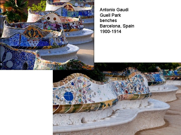 Antonio Gaudi Guell Park benches Barcelona, Spain 1900 -1914