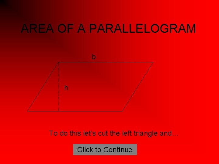 AREA OF A PARALLELOGRAM b h To do this let's cut the left triangle