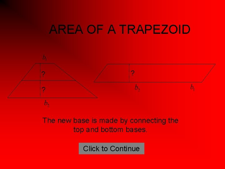 AREA OF A TRAPEZOID ? ? ? The new base is made by connecting