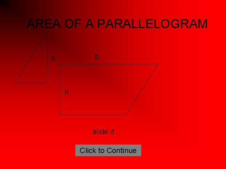 AREA OF A PARALLELOGRAM b h h slide it… Click to Continue