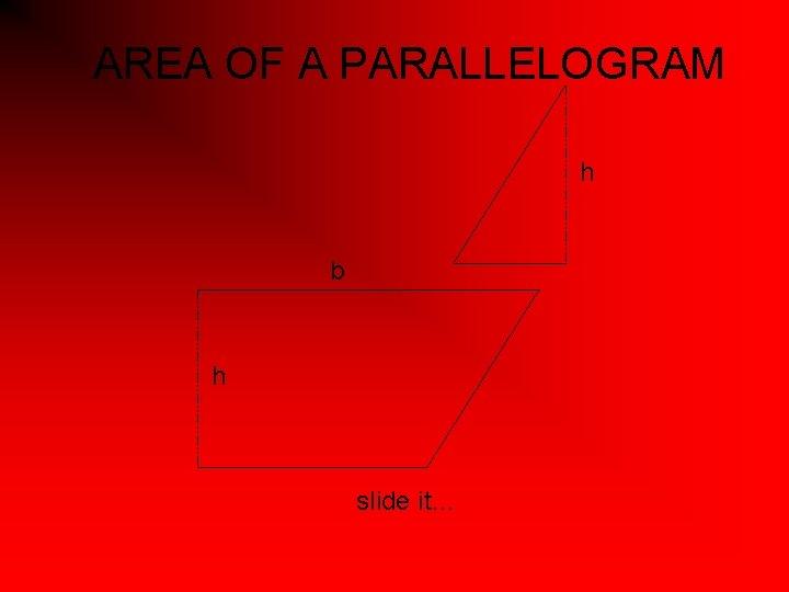 AREA OF A PARALLELOGRAM h b h slide it…