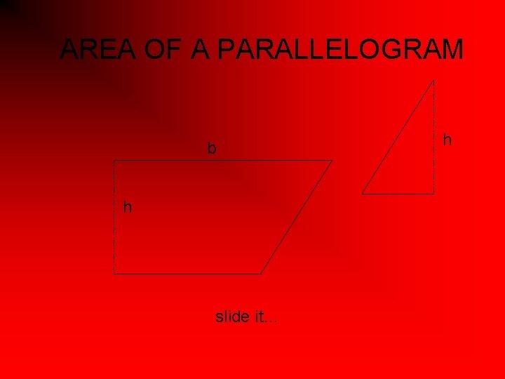 AREA OF A PARALLELOGRAM b h slide it… h