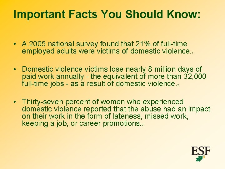 Important Facts You Should Know: • A 2005 national survey found that 21% of