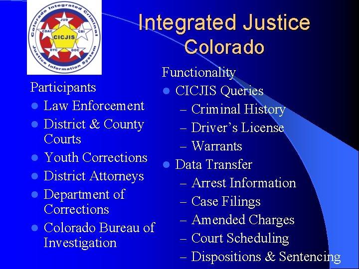 Integrated Justice Colorado Functionality Participants l CICJIS Queries l Law Enforcement – Criminal History