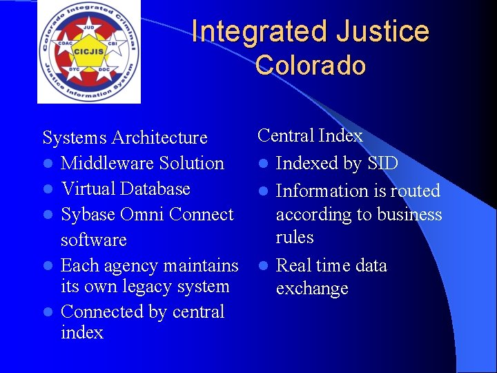Integrated Justice Colorado Systems Architecture l Middleware Solution l Virtual Database l Sybase Omni