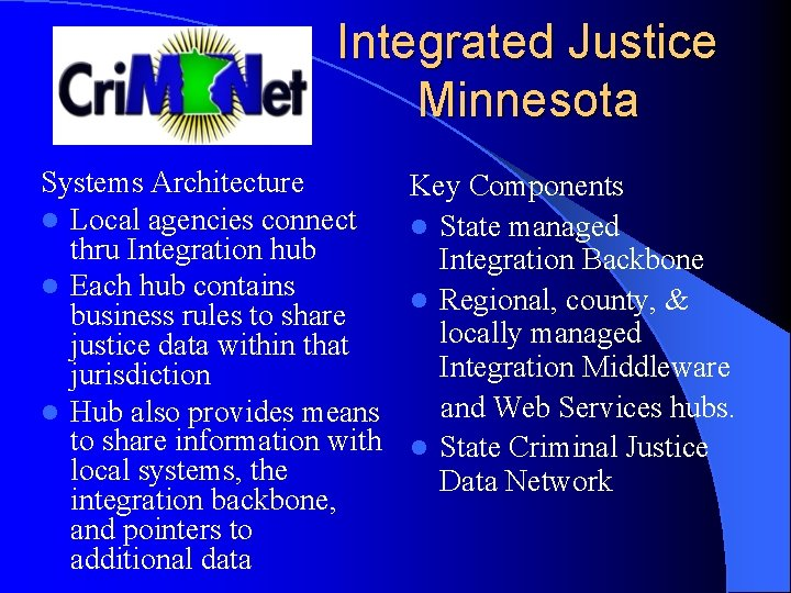 Integrated Justice Minnesota Systems Architecture l Local agencies connect thru Integration hub l Each