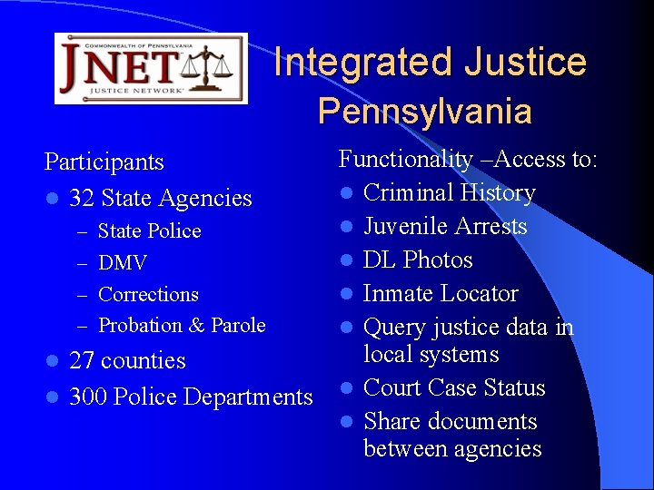 Integrated Justice Pennsylvania Participants l 32 State Agencies – State Police – DMV –