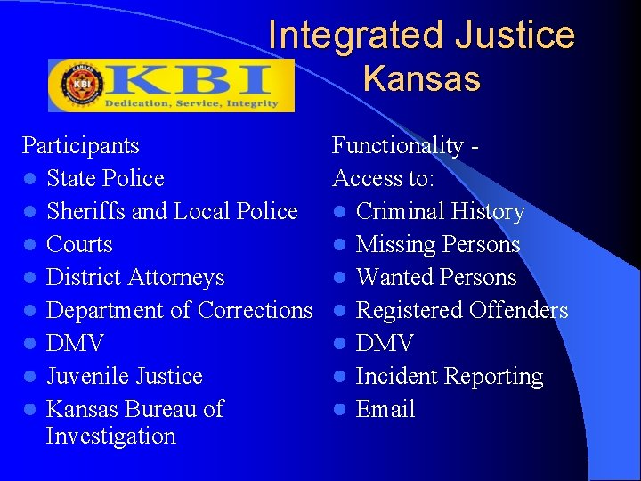 Integrated Justice Kansas Participants l State Police l Sheriffs and Local Police l Courts