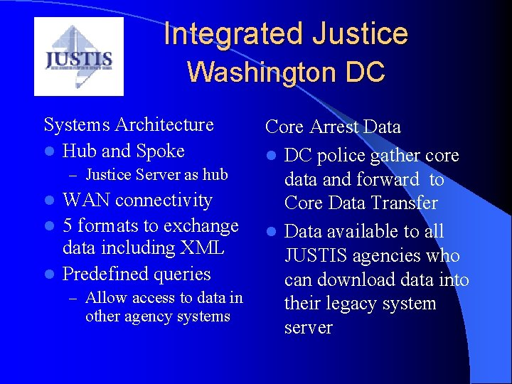 Integrated Justice Washington DC Systems Architecture l Hub and Spoke – Justice Server as