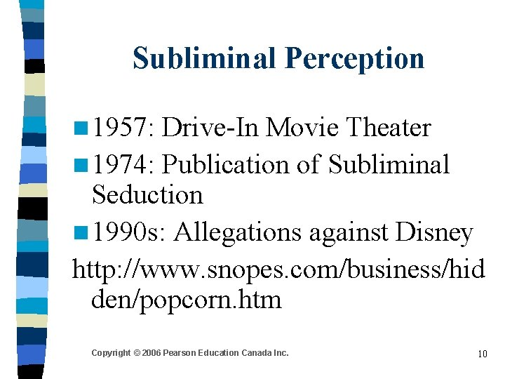 Subliminal Perception n 1957: Drive-In Movie Theater n 1974: Publication of Subliminal Seduction n