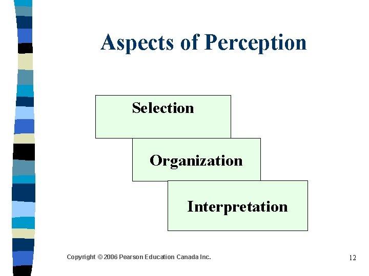 Aspects of Perception Selection Organization Interpretation Copyright © 2006 Pearson Education Canada Inc. 12