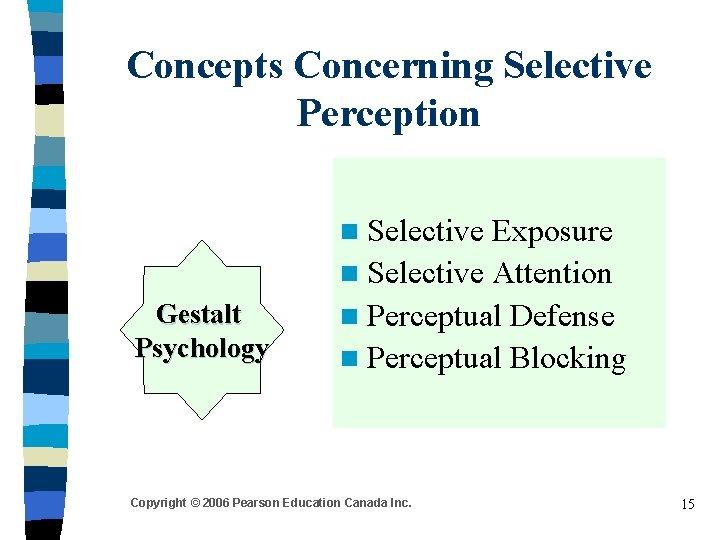 Concepts Concerning Selective Perception n Selective Gestalt Psychology Exposure n Selective Attention n Perceptual