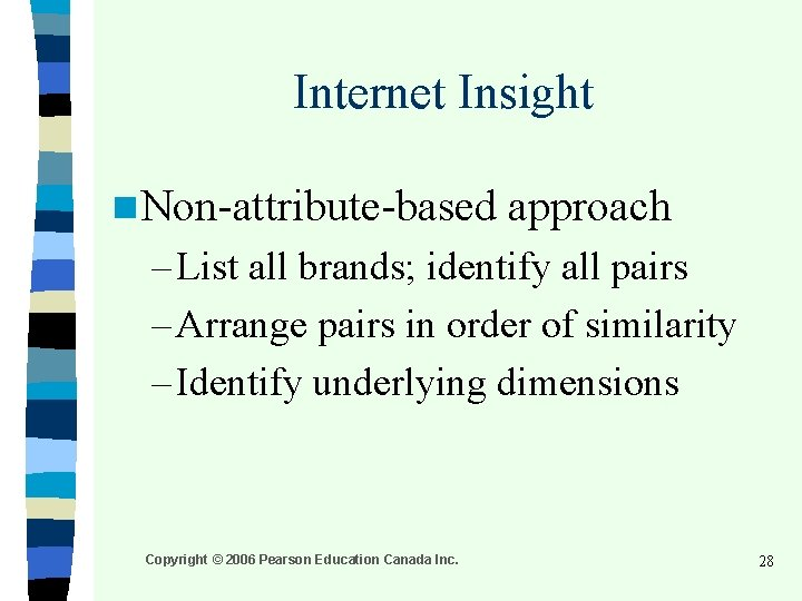 Internet Insight n Non-attribute-based approach – List all brands; identify all pairs – Arrange