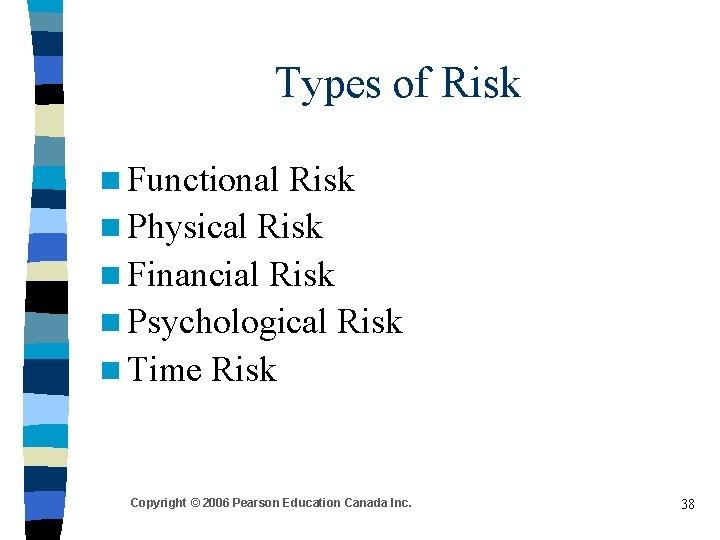 Types of Risk n Functional Risk n Physical Risk n Financial Risk n Psychological