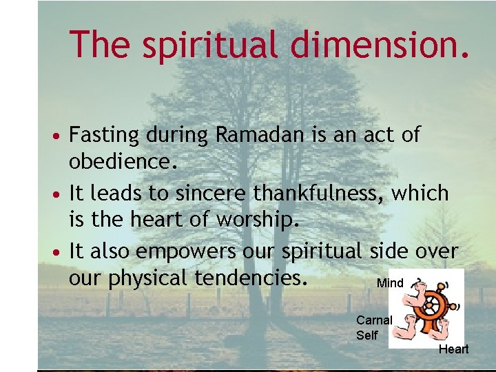 The spiritual dimension. • Fasting during Ramadan is an act of obedience. • It