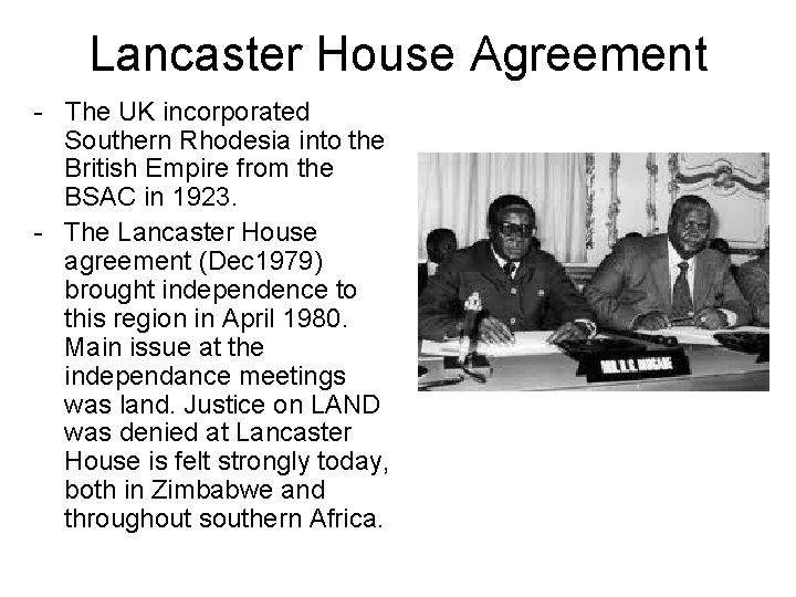 Land In Zimbabwe Past Mistakes Future Prospects Understanding Zimbabwe lancaster house agreement