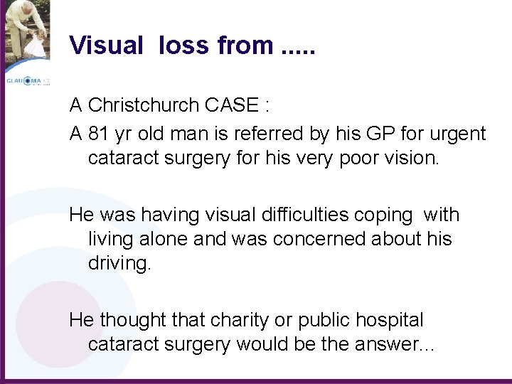 Visual loss from. . . A Christchurch CASE : A 81 yr old man