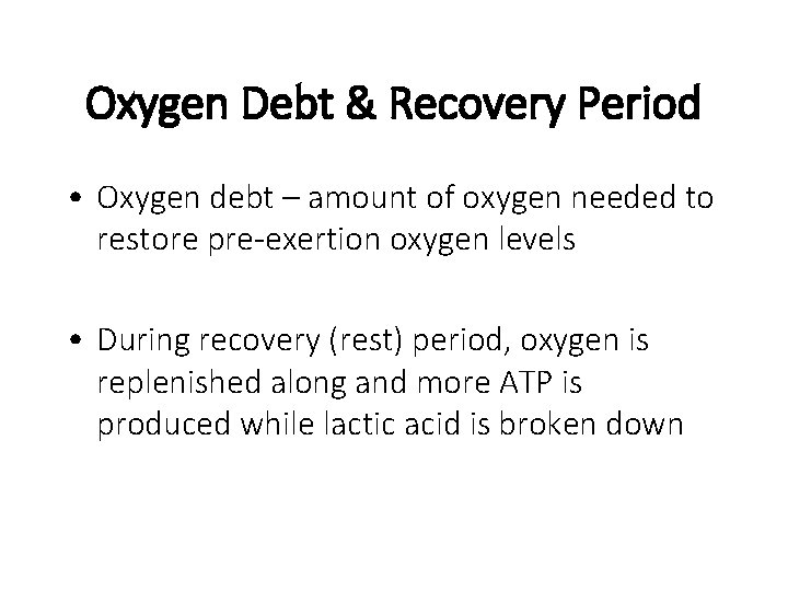 Oxygen Debt & Recovery Period • Oxygen debt – amount of oxygen needed to