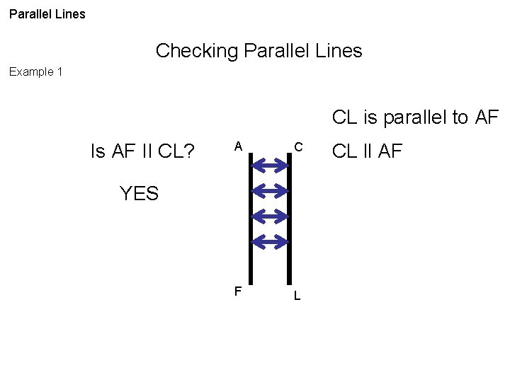 Parallel Lines Checking Parallel Lines Example 1 CL is parallel to AF Is AF
