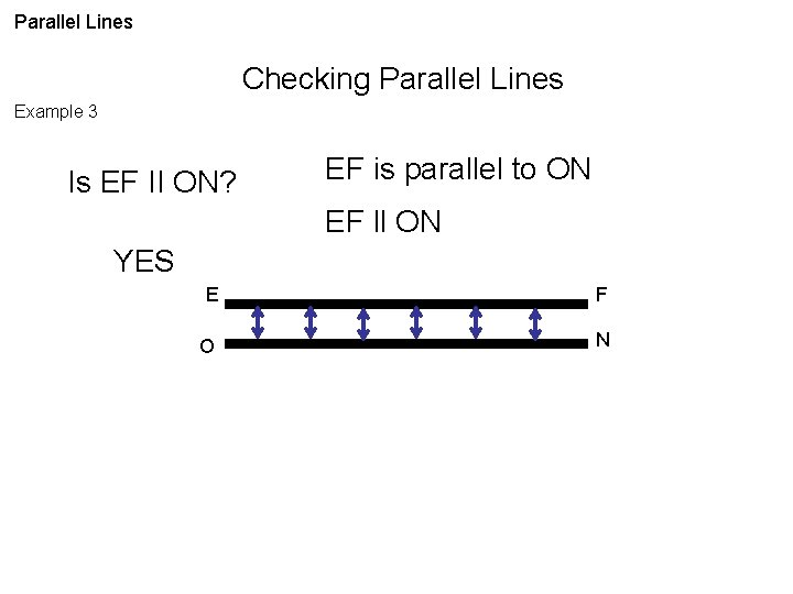 Parallel Lines Checking Parallel Lines Example 3 Is EF II ON? EF is parallel