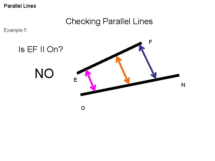 Parallel Lines Checking Parallel Lines Example 5 F Is EF II On? NO E