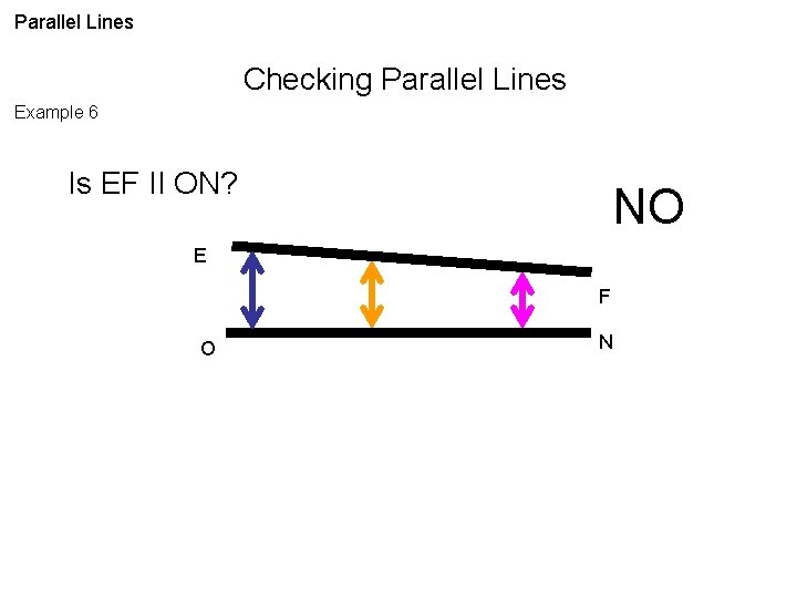 Parallel Lines Checking Parallel Lines Example 6 Is EF II ON? NO E F