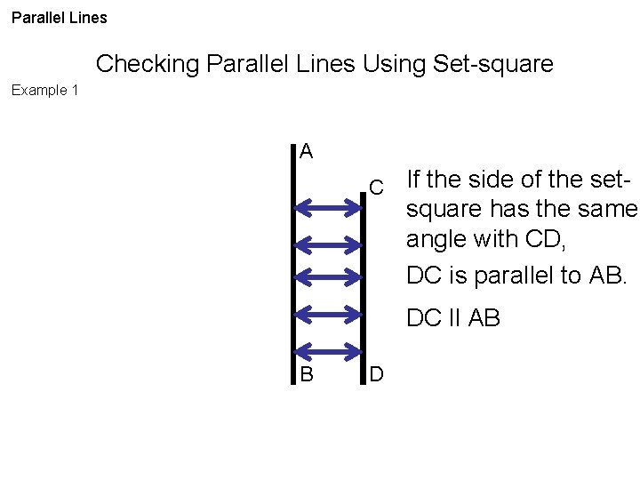 Parallel Lines Checking Parallel Lines Using Set-square Example 1 A C If the side