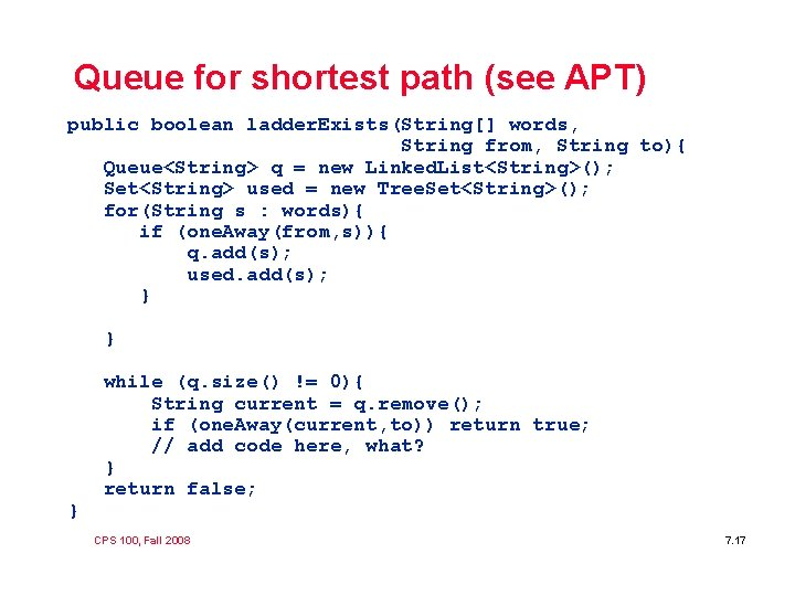 Queue for shortest path (see APT) public boolean ladder. Exists(String[] words, String from, String