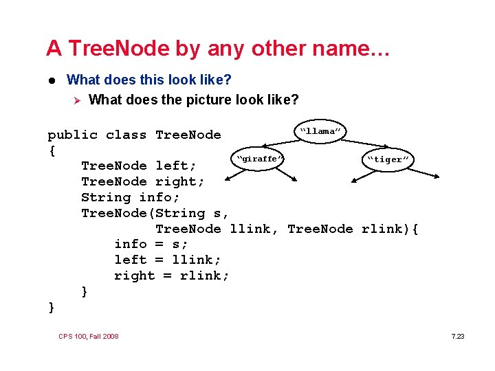 A Tree. Node by any other name… l What does this look like? Ø