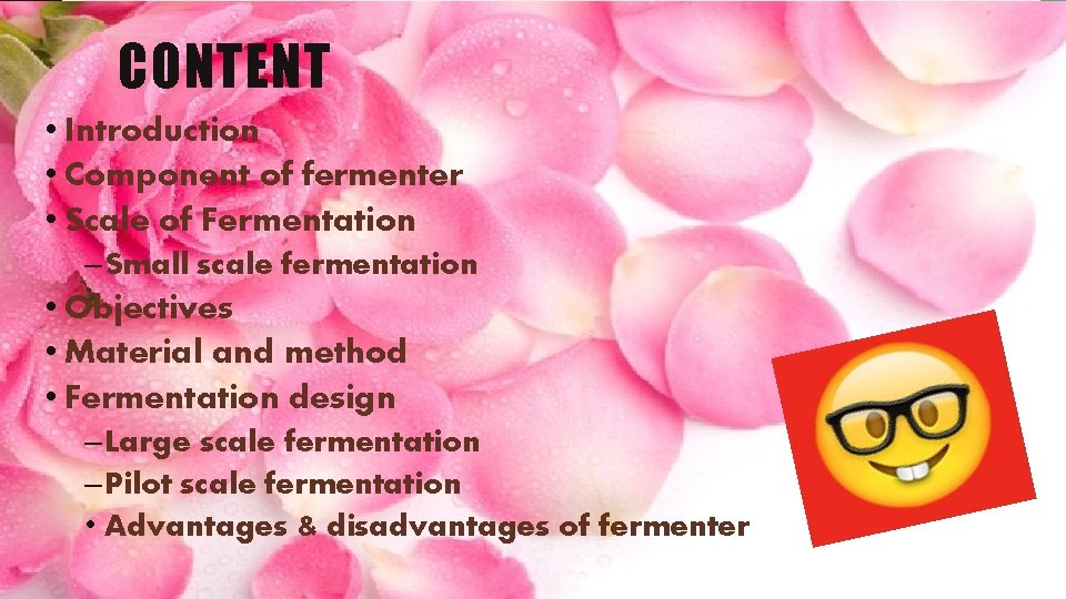 CONTENT • Introduction • Component of fermenter • Scale of Fermentation – Small scale