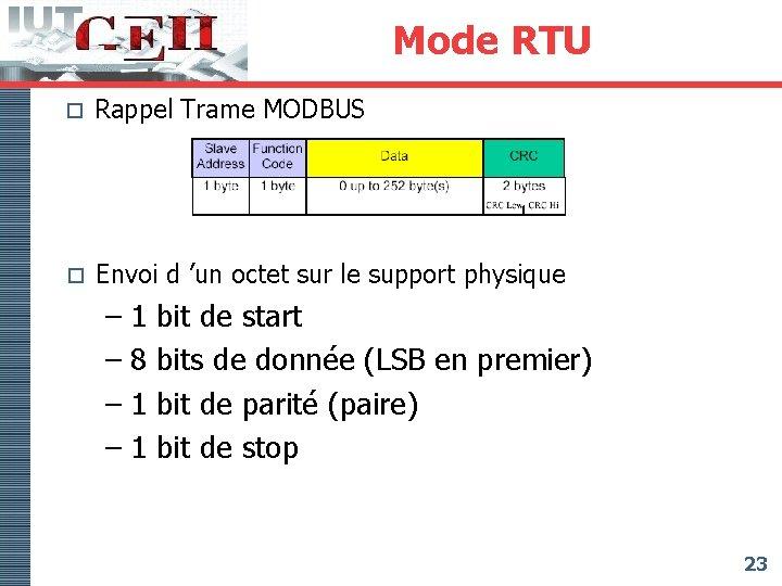 Mode RTU o Rappel Trame MODBUS o Envoi d 'un octet sur le support