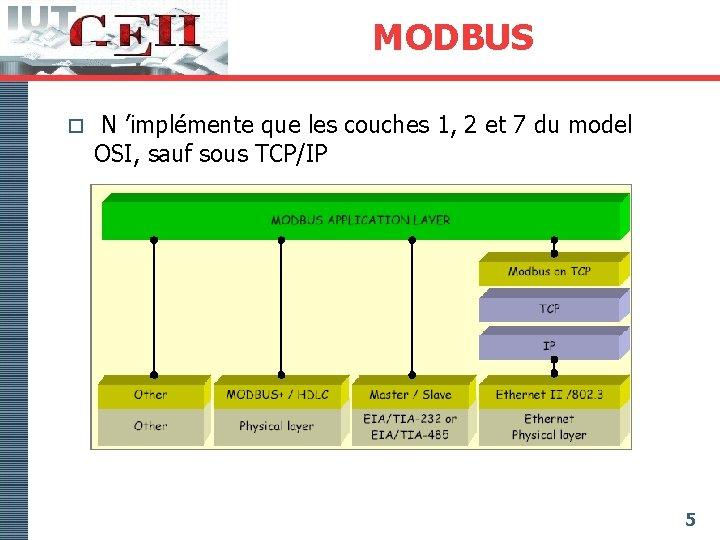 MODBUS o N 'implémente que les couches 1, 2 et 7 du model OSI,