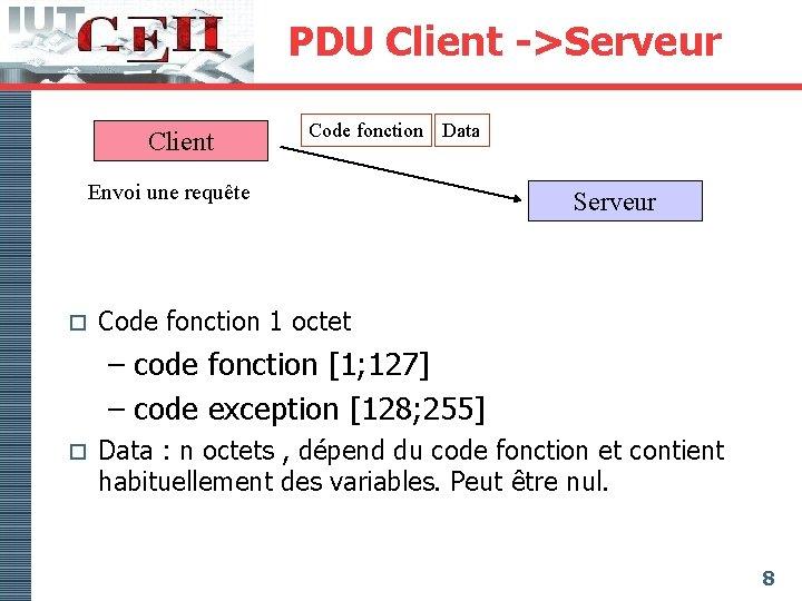 PDU Client ->Serveur Client Code fonction Data Envoi une requête o Serveur Code fonction