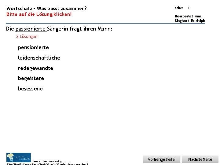 Übungsart: Wortschatz – Was passt zusammen? Bitte auf die Lösung klicken! Seite: 3 Bearbeitet
