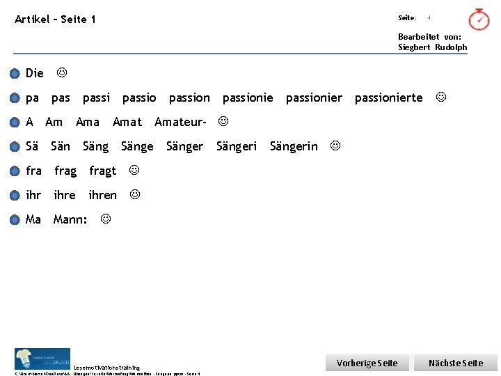Übungsart: Artikel – Seite 1 Seite: 4 Bearbeitet von: Siegbert Rudolph Die pa passion