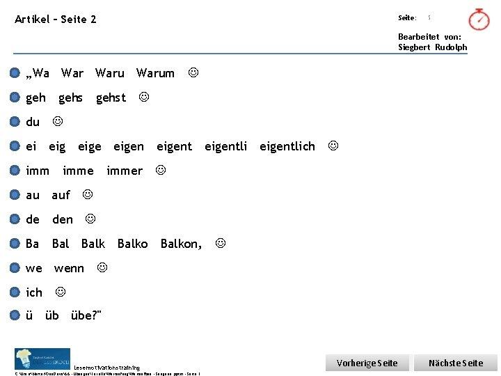 """Übungsart: Artikel – Seite 2 Seite: 5 Bearbeitet von: Siegbert Rudolph """"Wa Warum gehst"""