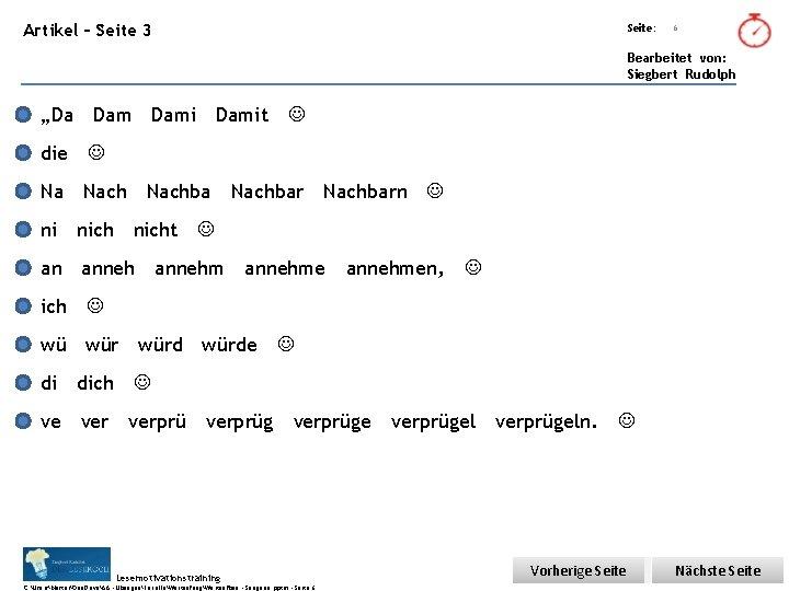 """Übungsart: Artikel – Seite 3 Seite: 6 Bearbeitet von: Siegbert Rudolph """"Da Dami die"""