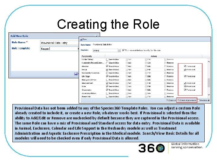 Creating the Role Provisional Data has not been added to any of the Species