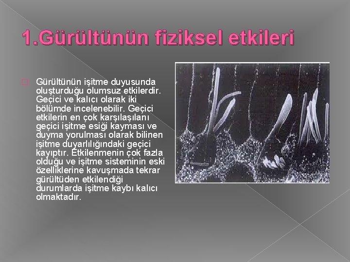 1. Gürültünün fiziksel etkileri � Gürültünün işitme duyusunda oluşturduğu olumsuz etkilerdir. Geçici ve kalıcı