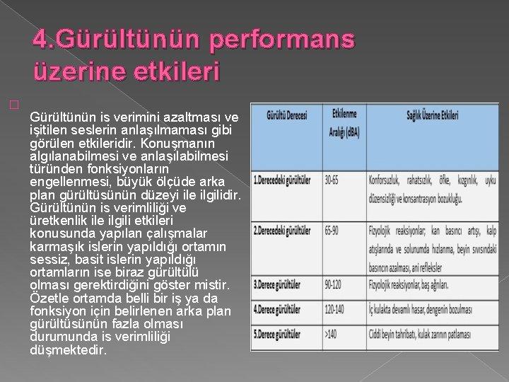 4. Gürültünün performans üzerine etkileri � Gürültünün is verimini azaltması ve işitilen seslerin anlaşılmaması