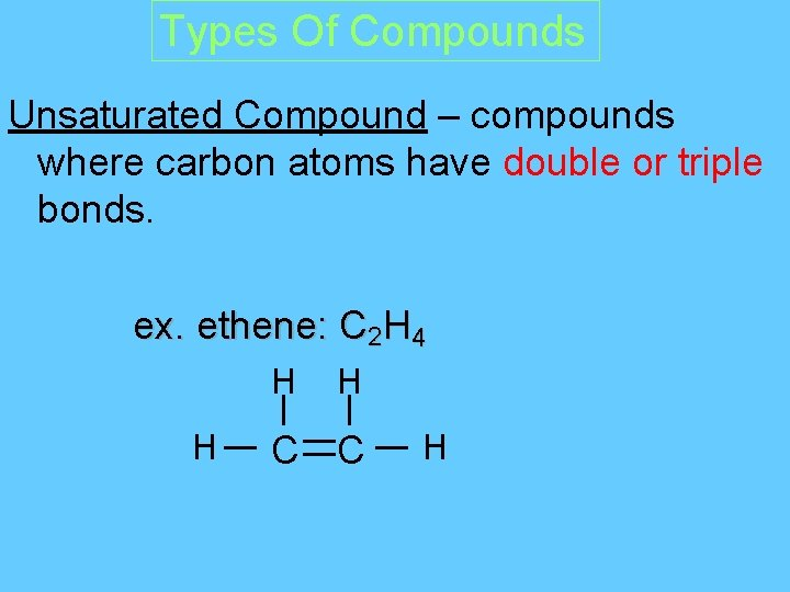 Types Of Compounds Unsaturated Compound – compounds where carbon atoms have double or triple