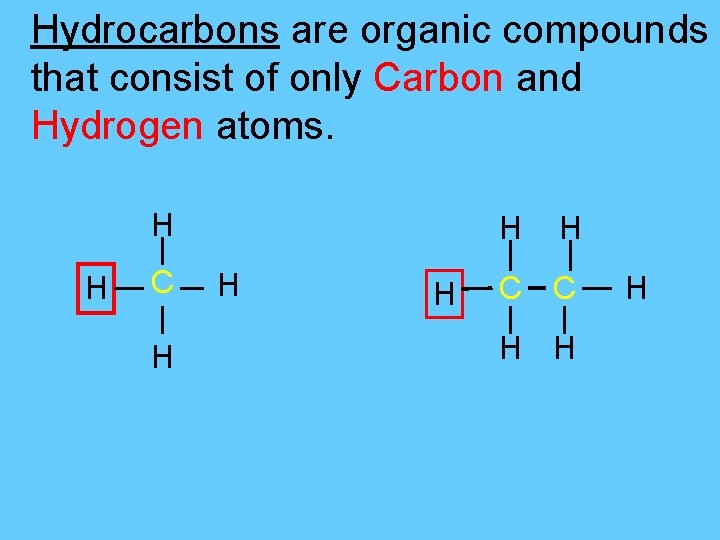 Hydrocarbons are organic compounds that consist of only Carbon and Hydrogen atoms. H H