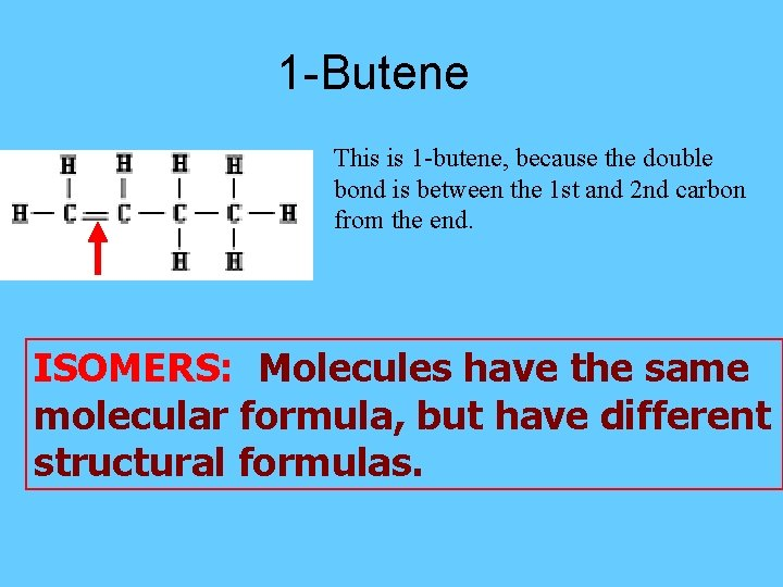 1 -Butene This is 1 -butene, because the double bond is between the 1