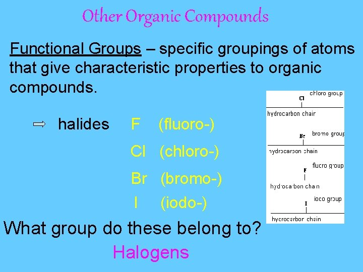 Other Organic Compounds Functional Groups – specific groupings of atoms that give characteristic properties