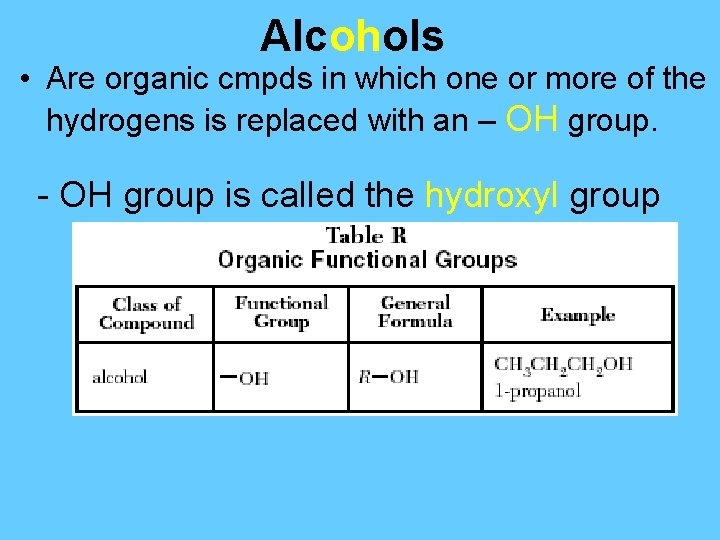 Alcohols • Are organic cmpds in which one or more of the hydrogens is