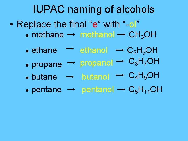 """IUPAC naming of alcohols • Replace the final """"e"""" with """"-ol"""" ● methane methanol"""