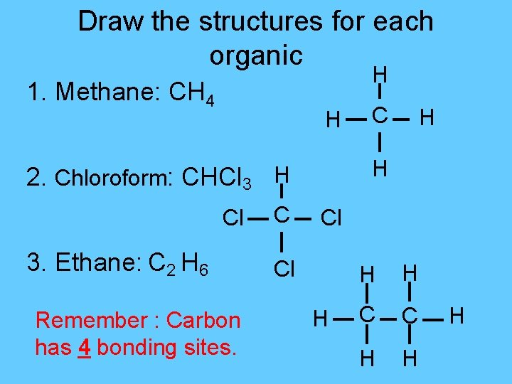 Draw the structures for each organic H 1. Methane: CH 4 H 3. Ethane: