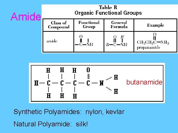 Amide butanamide Synthetic Polyamides: nylon, kevlar Natural Polyamide: silk!