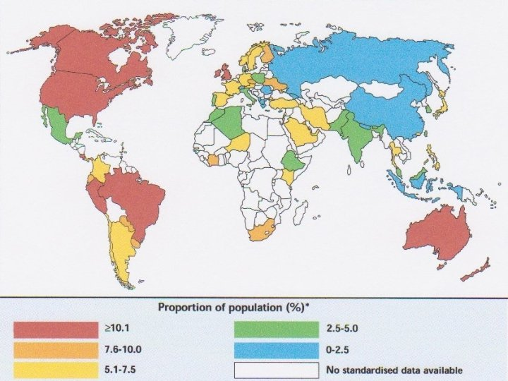 World map of prevalence of asthma